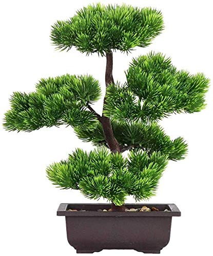 Plants Artificial Bonsai Tree Large Artificial Bonsai,Fake Welcoming Pine Simulation Bonsai Decorative, House Creative Bonsai Tree Green Potted,Suitable for Windowsill Home Office LQHZWYC