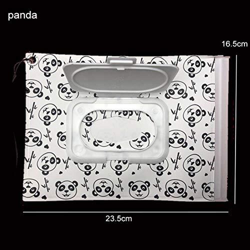 LinZX Tragbare Snap Strap Baby-Feuchttücher Box Wipes Container umweltfreundliche Easy-Carry Clamshell kosmetische Reinigungstücher Fall,Panda