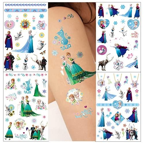 Tatuajes temporales de Frozen para niños, 8 hojas Pegatina de Frozen para tatuajes temporales falsos a prueba de agua para niños y niñas Bolsas de fiesta de cumpleaños para niños