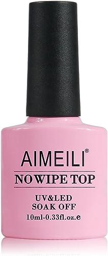 AIMEILI No Wipe Top Coat Vernis Semi-Permanent Vernis à Ongles Manucure Soak Off Gel UV LED Gel Nail Polish 10ML