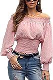 I3CKIZCE Bluse - Top de mujer de manga larga con apertura transparente y sin hombros, elegante, para uso diario, informal, sexy, chic, moda vintage, Rosa, S