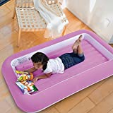 KIDS CHILDRENS INFLATABLE SAFETY FLOCKED KIDDY AIR BED TODDLERS HOME CAMPING (Pink)