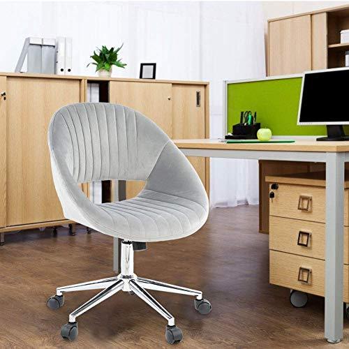 Silla de terciopelo suave, giratoria y elevable, ideal para maquillaje o oficina, para muebles del hogar, 57,8 x 42,8 x 82,8 cm, color gris