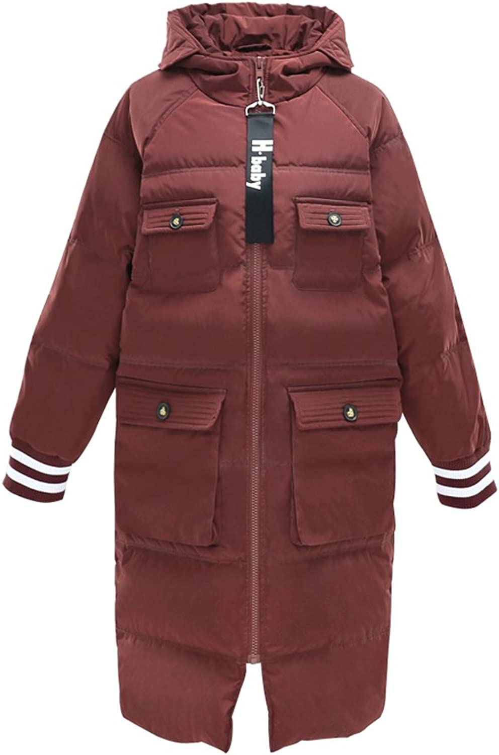 Women Brown Loose Leisure Hooded Thick Coat Winter Warm Windproof Long Sections Zipper Down Coat (color   Brown, Size   S)