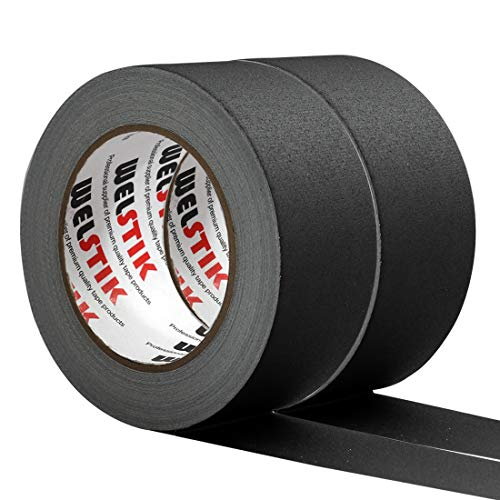 "WELSTIK 2 Pack Black Gaffers Tape,2""X 33 Yards-10% Longer-Heavy Duty Gaffers Tape,Waterproof Matte Finish Gaff Tape,Residue Free,Non Reflective,Easy to Tear"