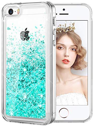 wlooo Cover per iPhone SE/5/5S, Cover iPhone SE, iPhone 5S Cover, Glitter Bling Liquido Custodia Sparkly Luccichio Pendenza TPU Silicone Protettivo Morbido Brillantini Quicksand Case (Teal)
