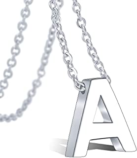 Tarsus Alphabet Monogram Initial Letter Necklace 316L Stainless Steel for Girls Women Teens Gold Script Wedding Name Jewelry Adjustable Chain 18