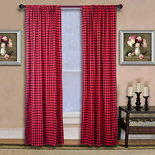 2PCS 53 X 70in Curtain, Kitchen Curtain,Curtains, Buffalo Plaid Curtains, Buffalo Check Curtains, Farmhouse Kitchen Curtains ( Black and Red )