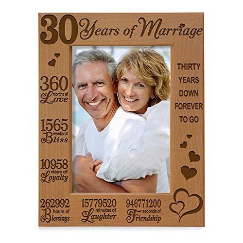 KATE POSH 30 Years of Marriage Engraved Natural Wood Picture Frame, 30th, Husband and Wife, 30 Years Down Forever to Go (5x7-Vertical)