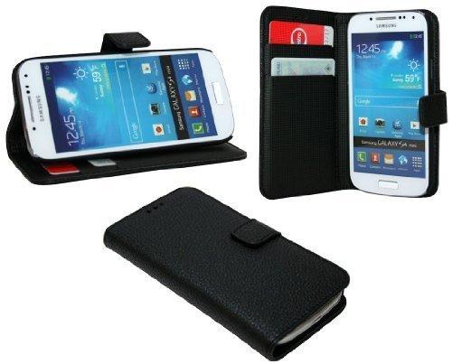 ENERGMiX Buchtasche Hülle kompatibel mit Samsung Galaxy S4 Mini i9195 Case Tasche Wallet BookStyle mit STANDFUNKTION Schwarz