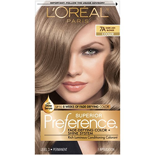 L'Oreal Paris Superior Preference Fade-Defying + Shine Permanent Hair Color, 7A Dark Ash Blonde, Pack of 1, Hair Dye