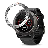 BaiHui Stainless Steel Bezel Ring Compatiable with Garmin Fenix 5X Watch Bezel Ring Adhesive Cover Anti Scratch & Collision Protector for Garmin Watch Accessory (Silver - Not Fit Fenix 5 / 5X Plus)
