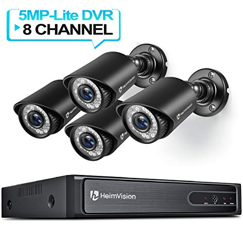 HeimVision HM245 1080P Security Camera System, 8CH 5MP-Lite DVR 4Pcs 1920TVL Outdoor Wired CCTV Camera with Night Vision, Motion Alert, Remote Access