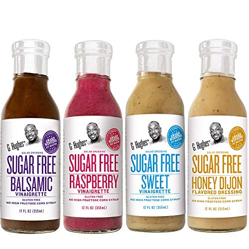 G. Hughes Sugar Free Salad Dressing Bundle including (4-pack Honey Dijon, Sweet, Raspberry, and Balsamic)