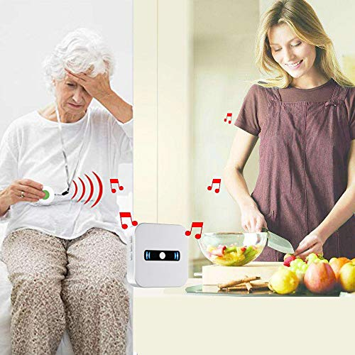 Daytech Caregiver Pagers Emergency Panic Call Button for Elderly Senior Patient Personal Alert Alarm Nurse Elderly Aids for Living Home Alert System 3 Portable Receiver+2 Necklace Call Buttons