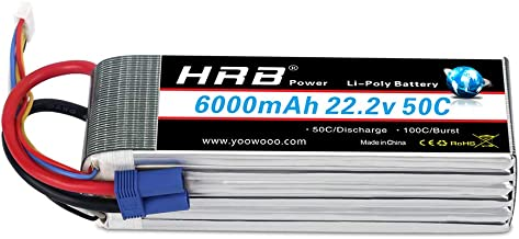 HRB 6S 6000mAh 22.2V Lipo Battery 50C-100C EC5 Plug for RC Quadcopter Airplane Helicopter Car Truck(6.10 x 1.89 x 2.17 inch)