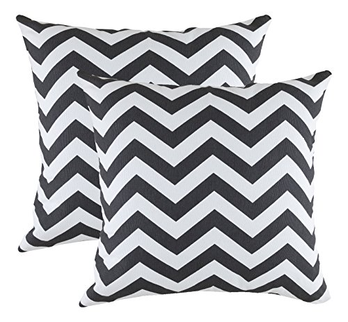 Treewool (2 Pack) Cushion Covers Chevron Accent in Cotton Canvas (45 x 45 Cm, Black)