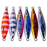 6 Uds Cebo De Perca Plantilla De Metal Señuelos De Mar De Pesca De Plomo Lento Jigging, Cebo Artificial Pesca De Orilla Pesca De Lubina Señuelo De...