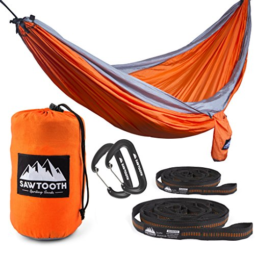 Sawtooth Double Camping Hammock with Tree Straps and Aluminum Carabiners - Complete KIT - Lightweight Portable Parachute Nylon for Backpacking Hiking Travel Beach Park Yard. (Orange)