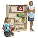 ECR4Kids 48 in H Birch Bookcase with Adjustable Shelves, GREENGUARD Gold Certified Wooden Book Display for Kids, 3 Shelves, Natural Book Shelf Organizer for Homeschool and Classrooms, Beige (ELR-17101)