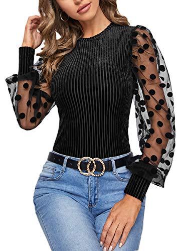Romwe Women's Long Sleeve Top Mesh Sleeve Elegant Blouse Shirt Black M