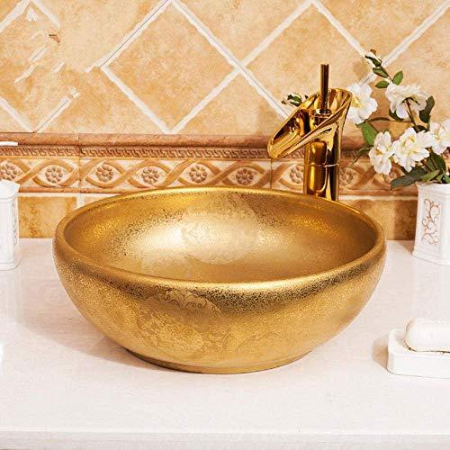 ZLXLX badkamer wastafel aanrecht wastafel gouden wastafel luxe Europa stijl handgemaakte wastafel artistieke badkamer wastafel ronde kom wastafel badkamer wastafels
