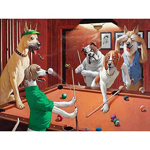 DIY diamant schilderij 5D volledige diamant ronde diamant hond spelen biljart 30x20cm volwassen en kinderen perfecte ontspanning kunstenaar muur decoratie