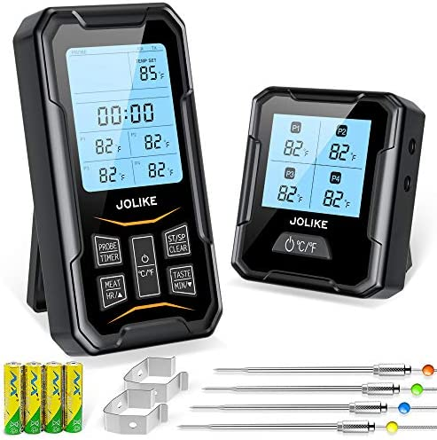 JOLIKE Wireless Meat Thermometer Oven Thermometer 328ft Remote Timer 4 Probes for Smoker Grill product image