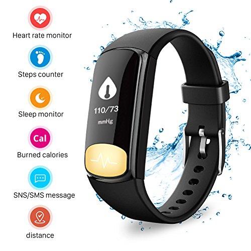 Mbuynow Fitness Tracker IP67, Orologio Fitness Braccialetto Cardiofrequenzimetro Polso Contapassi Bracciale Impermeabile Schermo a Colori Smartwatch per Android iOS Smartphone