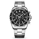 MEGIR Men's Business Work Analogue Quartz Wrist Watch with Stainless Steel Band Calendar Stopwatch...