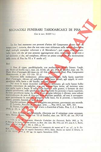 Segnacoli funerari tardoarcaici di Pisa.