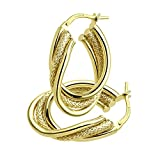 Citerna Satin and Plain Triple Twist 9 ct Yellow Gold Oval Hoop Earrings