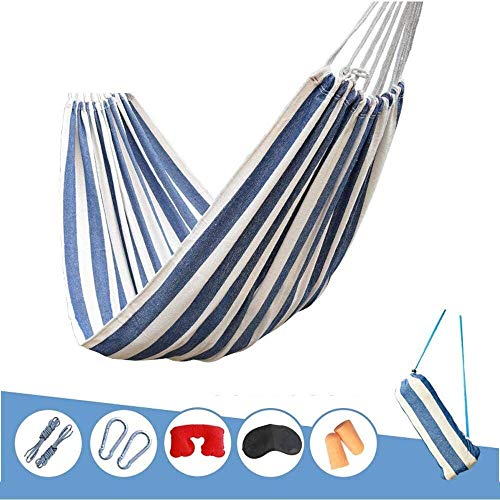 Camping hangmat Hangmat Canvas Outdoor Swing Enkel Dubbel Anti-Rollover Camping Comfortabele Ademende Portable (Color : Blue, Size : 200 * 100cm)