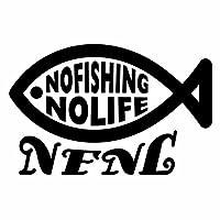 【NFNL(ノーフィッシングノーライフ) Ver.020 ミニサイズ カッティングステッカー 3枚組 幅約11cm×高約7.1cm】NO FISHING NO LIFE カラー:黒(ブラック)