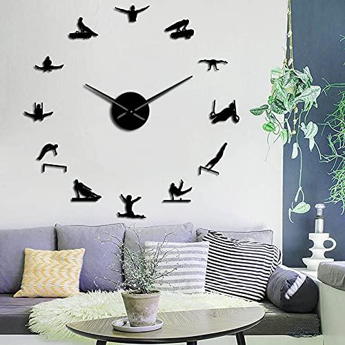 Hombres ginecólogos Hombres Fuertes Pared Arte Marco Relojes de Pared Gigante Decorativo Reloj de Pared Macho Gimnasta DIY Espejo Pared Pegatinas (Negro,47 Pulgadas) Regalos de Navi