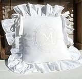 LillaBelle Stuhlkissen Bezug Hülle Mathilde Weiss 42x42 cm Baumwolle Bestickt Shabby Landhaus Vintage