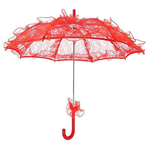 Braut Regenschirm Spitze Sonnenschirm Fotografie für Party(red)