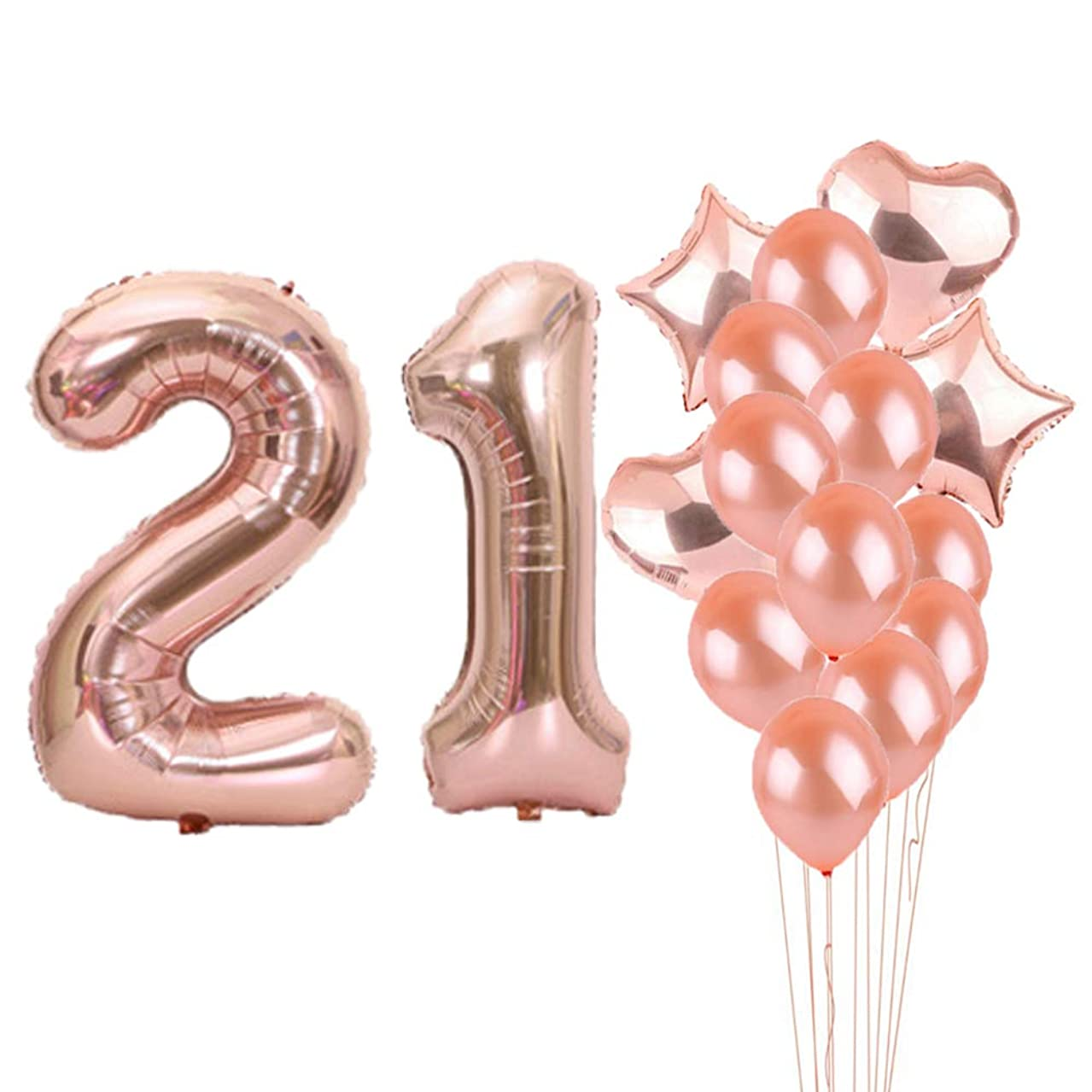Sweet 21th Birthday Decorations Party Supplies,Rose Gold Number 21 Balloons,21th Foil Mylar Balloons Latex Balloon Decoration,Great 21th Birthday Gifts for Girls,Women,Men,Photo Props