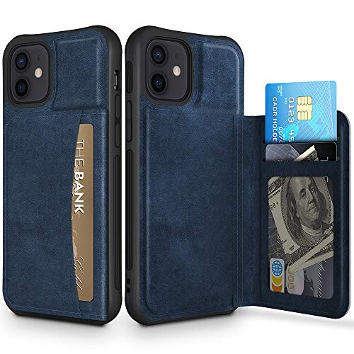 Caka iPhone 12 Mini Wallet Case for Men Card Holder Credit Card Slot Holder Premium Leather Durable Shockproof Protective Magnetic Closure Case Cover for iPhone 12 Mini (5.4 inches, 2020) (Blue)