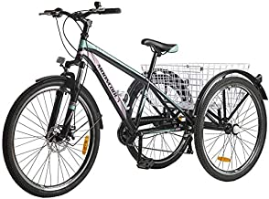 Adult Tricycle, 7 Speed Three Wheel Bikes Mountain Tricycles, 24/26 Inch Adults Trikes Men's Women's Cruiser Trike Bike with Large Basket (Black & Pink, 26