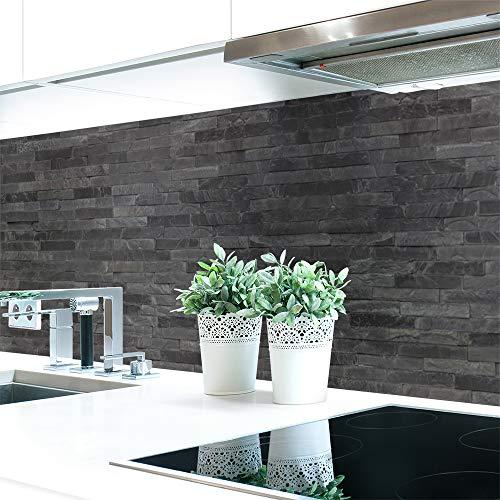 Küchenrückwand Steinwand Dunkel Premium Hart-PVC 0,4 mm selbstklebend - Direkt auf die Fliesen, Größe:Materialprobe A4