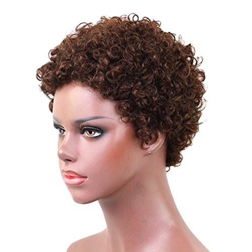 MERIGLARE Petites Boucles Serrées Courtes Perruques Bouclées Brunes De Style Afro Pour Les Femmes Noires