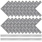 Soporte de Esquina de Placa Plana Estante de Ángulo en Forma L Acero Inoxidable Corner Brace con Tornillos para Silla Mueble Ventana 80 * 80mm 20 Piezas