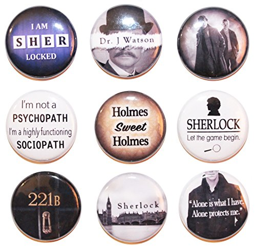 9 Mini Sherlock Button-Set (25 mm)