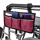 Wheelchair Side Bag with Pouches and Reflective Stripe, Wheelchair Armrest Side Organizer for Electric Wheelchairs, Wheelchair Lightweight and Easy to Use (Wine red)
