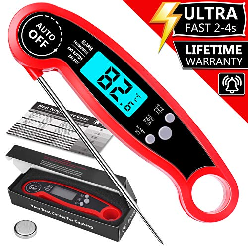 PEMOTech Digital Waterproof Instant Read Meat Thermometer, Digital Food Thermometer with Backlight & Calibration, Kitchen Meat Thermometer for Grill, Outdoor Cooking, BBQ and Kitchen