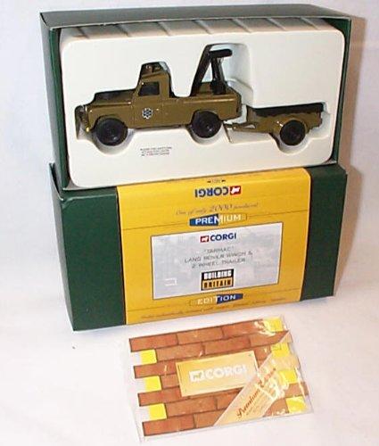 corgi premium collection tarmac land rover winch & 2 wheel trailer 1.43...