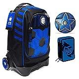 Mochila escolar F.C. Inter de 3 ruedas con mochila desmontable de la colección Seven + estuche con 3 cremalleras Destiny + balón y llavero de fútbol