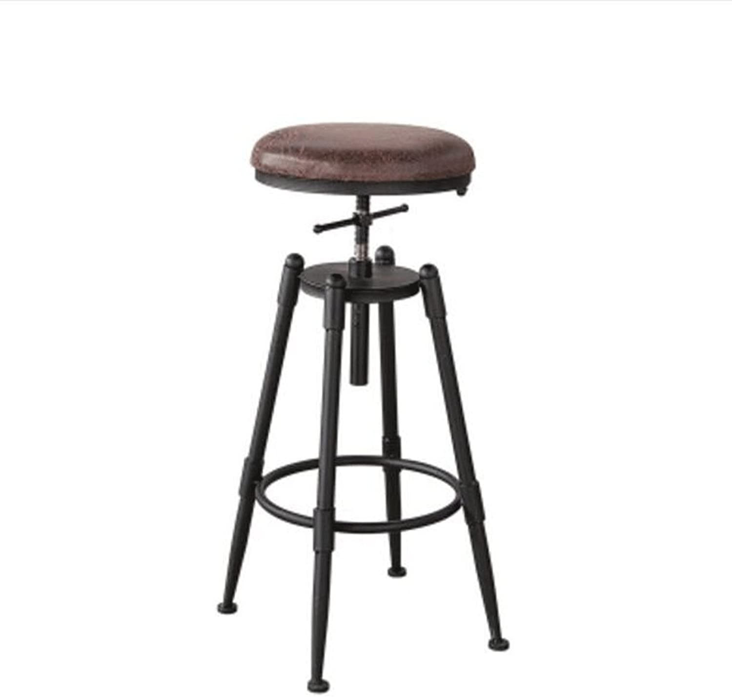 Barstool Bar Stool Adjustable Seat Height (68-90cm) Solid Wood Iron Bar Chairs American Retro Bar Chair High Chair Coffee Chair Lounge Chair (color   Soft Cushion, Size   A)
