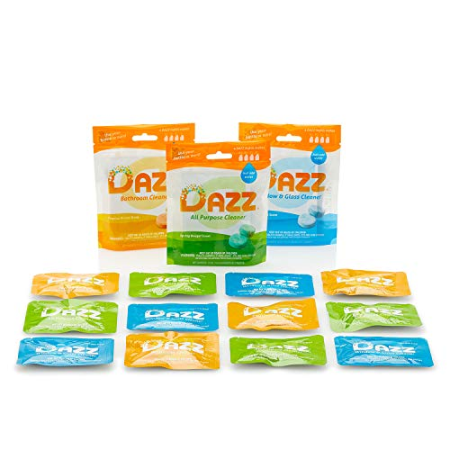 DAZZ Whole House Refill Pack (4 of Each Product - 12 Total) Natural Cleaning Tablets - All Purpose Cleaner, Glass and Window Cleaner, and Bathroom Cleaner - Eco Friendly, Non Toxic
